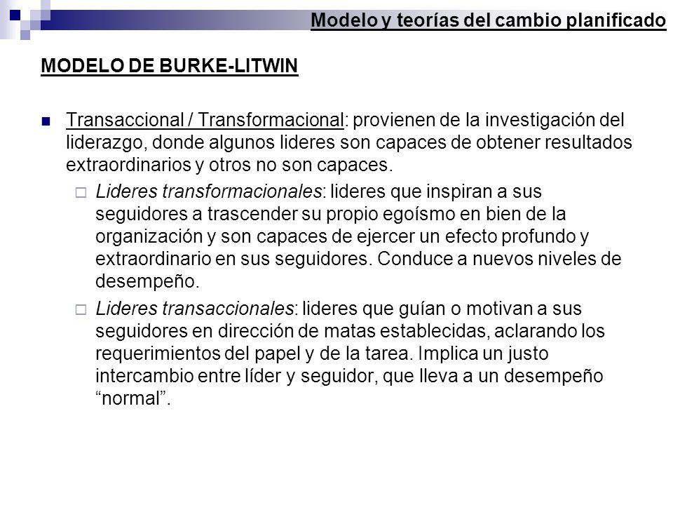 MODELO DE BURKE-LITWIN Transaccional / Transformacional: provienen de la investigación del liderazgo, donde algunos lideres son capaces de obtener res