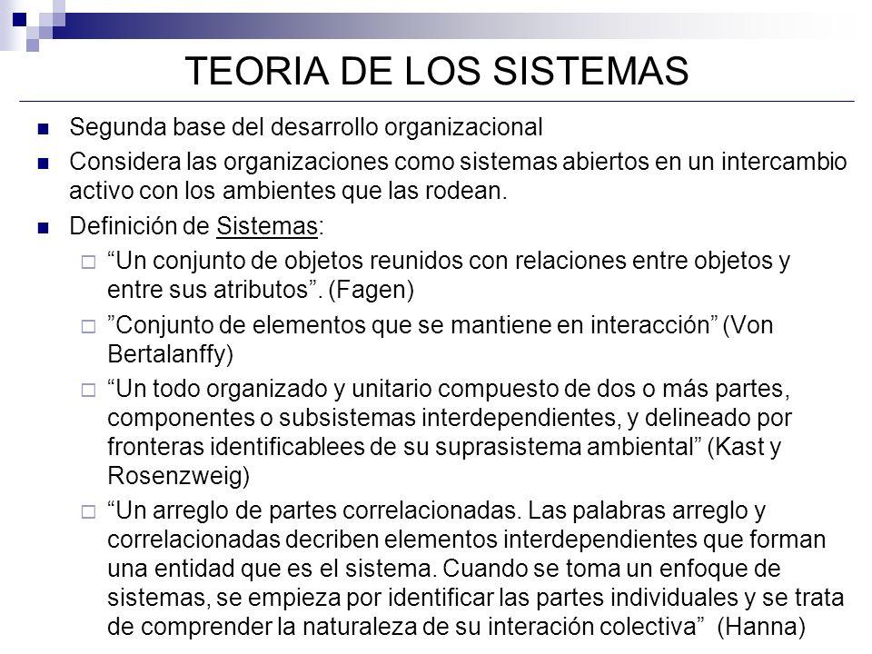 TEORIA DE LOS SISTEMAS Segunda base del desarrollo organizacional Considera las organizaciones como sistemas abiertos en un intercambio activo con los