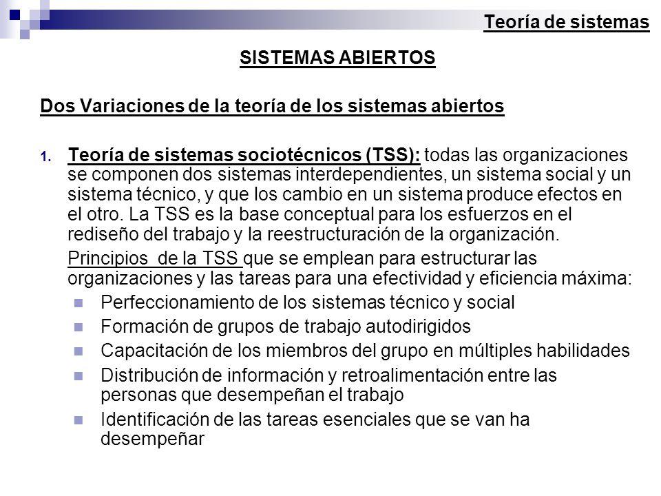 SISTEMAS ABIERTOS Dos Variaciones de la teoría de los sistemas abiertos 1. Teoría de sistemas sociotécnicos (TSS): todas las organizaciones se compone