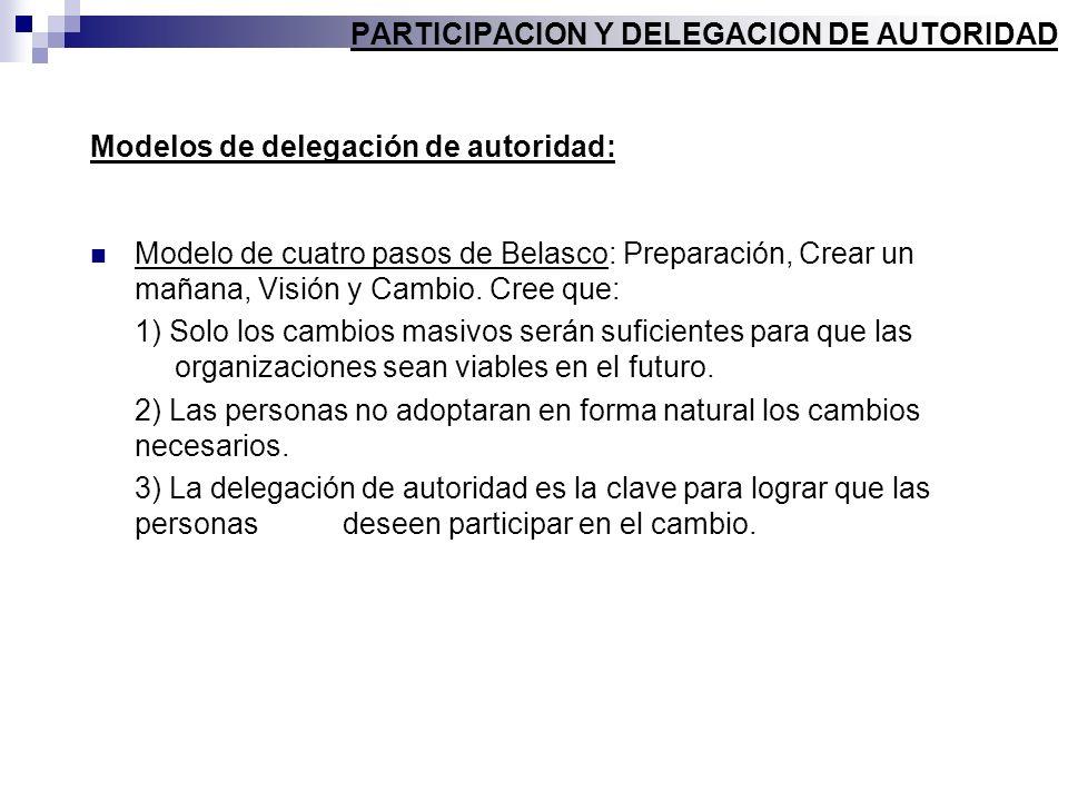 Modelos de delegación de autoridad: Modelo de cuatro pasos de Belasco: Preparación, Crear un mañana, Visión y Cambio. Cree que: 1) Solo los cambios ma