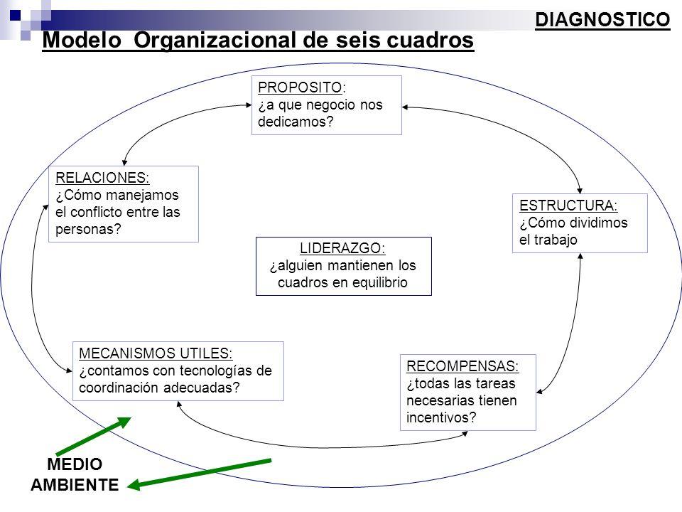 Modelo Organizacional de seis cuadros DIAGNOSTICO PROPOSITO: ¿a que negocio nos dedicamos? LIDERAZGO: ¿alguien mantienen los cuadros en equilibrio EST