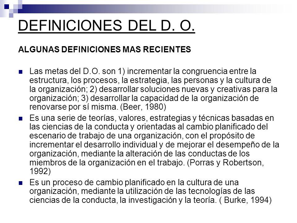 ALGUNAS DEFINICIONES MAS RECIENTES Las metas del D.O. son 1) incrementar la congruencia entre la estructura, los procesos, la estrategia, las personas