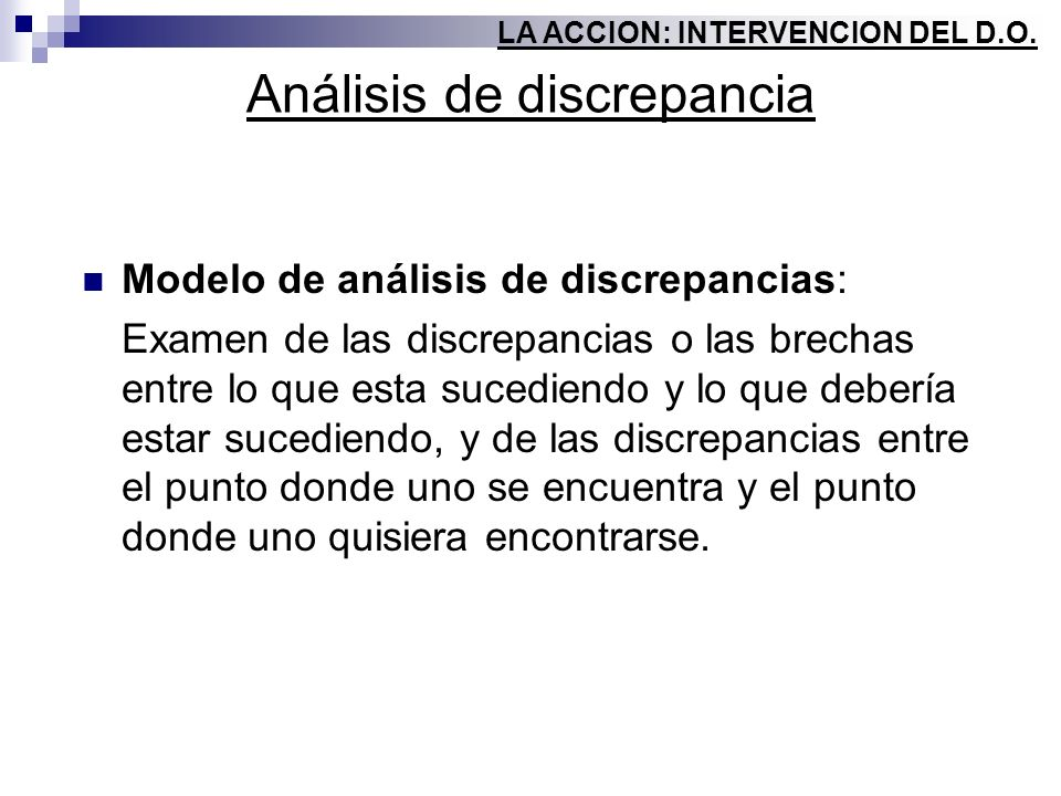 Análisis de discrepancia Modelo de análisis de discrepancias: Examen de las discrepancias o las brechas entre lo que esta sucediendo y lo que debería