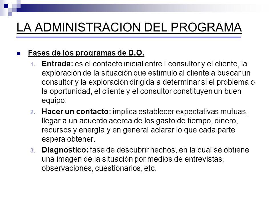 LA ADMINISTRACION DEL PROGRAMA Fases de los programas de D.O. 1. Entrada: es el contacto inicial entre l consultor y el cliente, la exploración de la