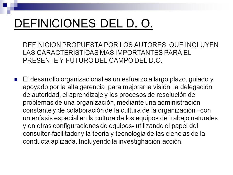 DEFINICION PROPUESTA POR LOS AUTORES, QUE INCLUYEN LAS CARACTERISTICAS MAS IMPORTANTES PARA EL PRESENTE Y FUTURO DEL CAMPO DEL D.O. El desarrollo orga