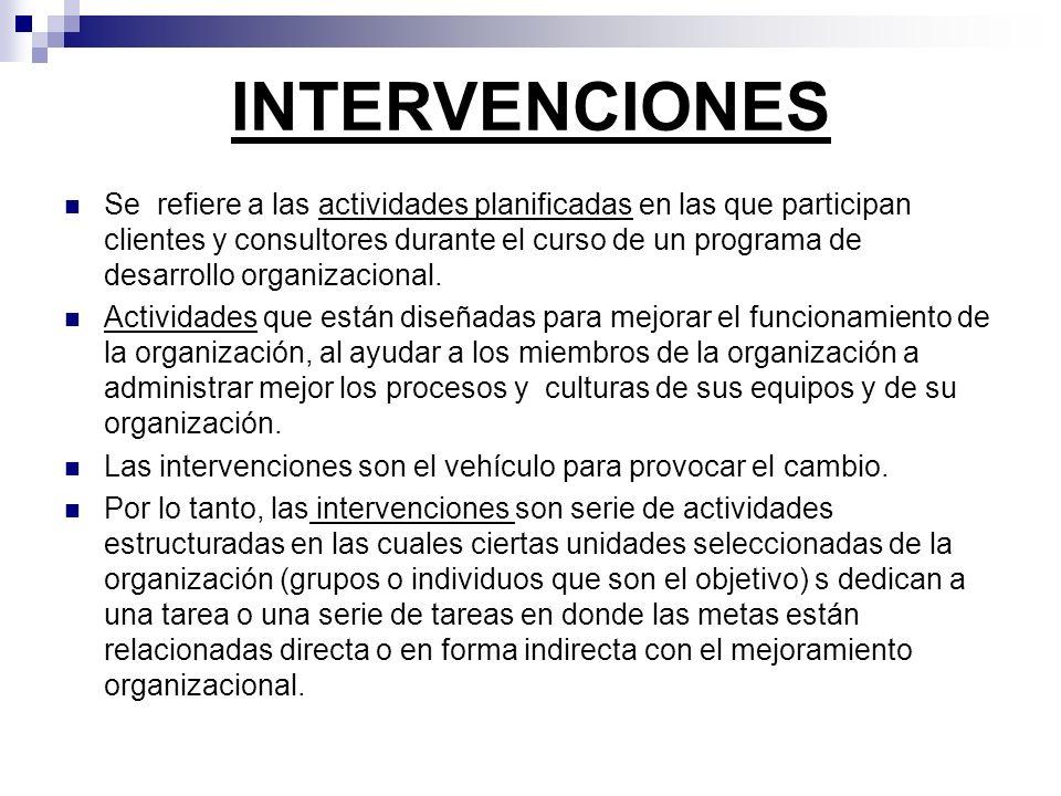 INTERVENCIONES Se refiere a las actividades planificadas en las que participan clientes y consultores durante el curso de un programa de desarrollo or