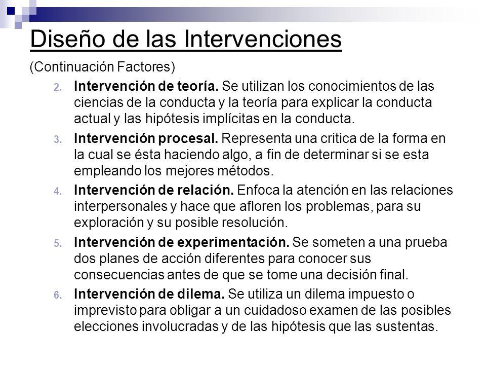Diseño de las Intervenciones (Continuación Factores) 2. Intervención de teoría. Se utilizan los conocimientos de las ciencias de la conducta y la teor