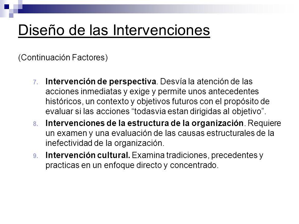 Diseño de las Intervenciones (Continuación Factores) 7. Intervención de perspectiva. Desvía la atención de las acciones inmediatas y exige y permite u