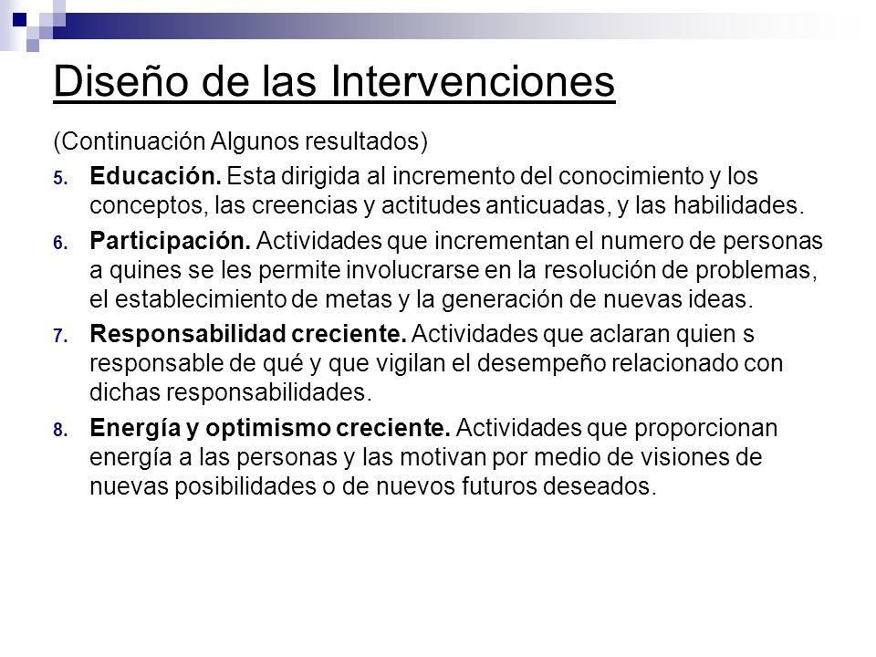 Diseño de las Intervenciones (Continuación Algunos resultados) 5. Educación. Esta dirigida al incremento del conocimiento y los conceptos, las creenci