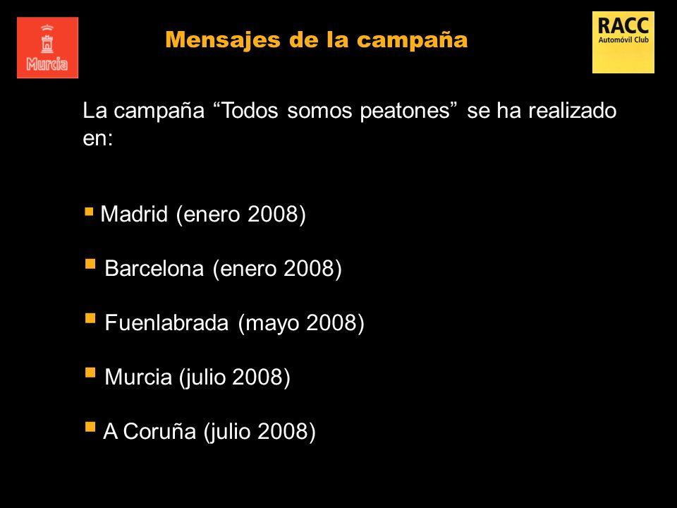 Mensajes de la campaña La campaña Todos somos peatones se ha realizado en: Madrid (enero 2008) Barcelona (enero 2008) Fuenlabrada (mayo 2008) Murcia (
