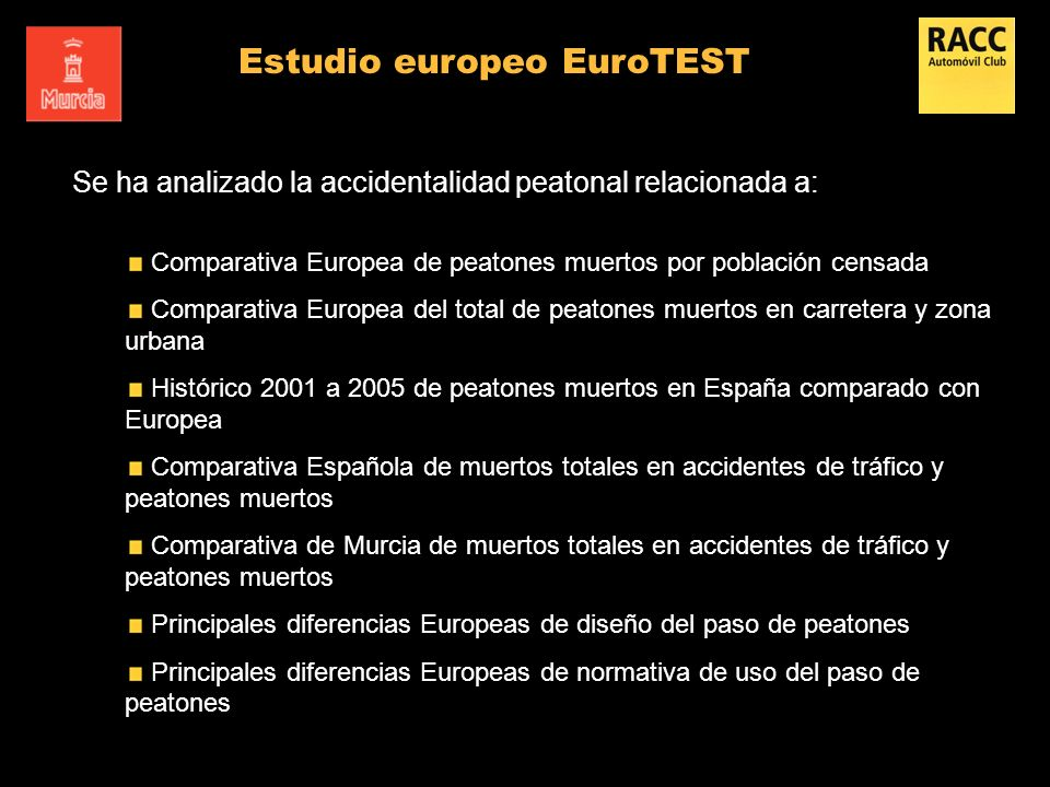 Se ha analizado la accidentalidad peatonal relacionada a: Comparativa Europea de peatones muertos por población censada Comparativa Europea del total