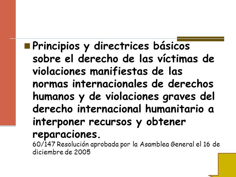 Principios y directrices básicos sobre el derecho de las víctimas de violaciones manifiestas de las normas internacionales de derechos humanos y de vi