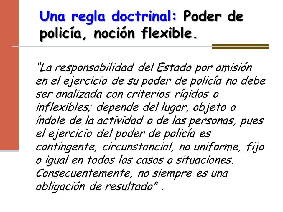 Una regla doctrinal: Poder de policía, noción flexible. La responsabilidad del Estado por omisión en el ejercicio de su poder de policía no debe ser a