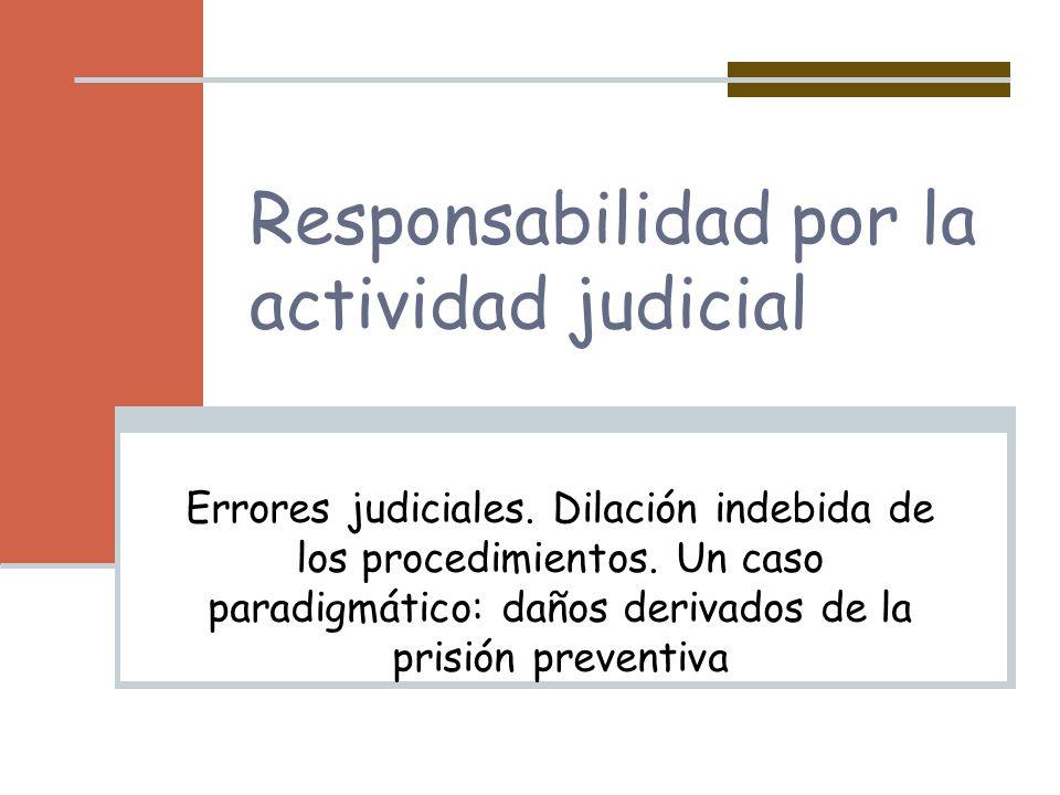 Responsabilidad por la actividad judicial Errores judiciales. Dilación indebida de los procedimientos. Un caso paradigmático: daños derivados de la pr