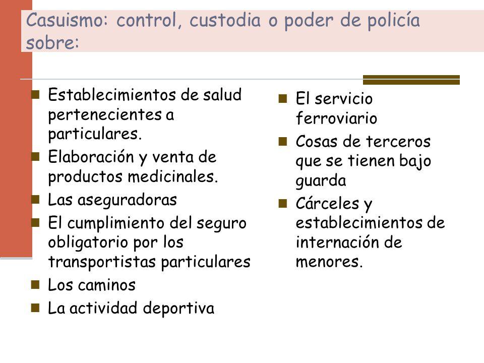 Casuismo: control, custodia o poder de policía sobre: Establecimientos de salud pertenecientes a particulares. Elaboración y venta de productos medici