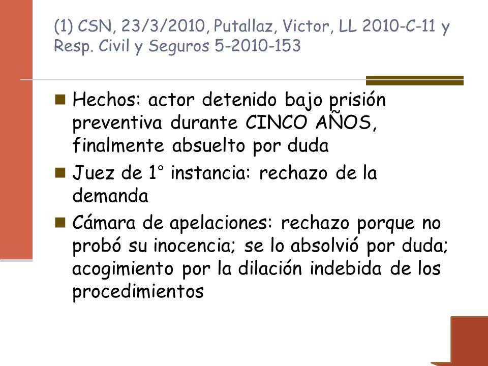 Hechos: actor detenido bajo prisión preventiva durante CINCO AÑOS, finalmente absuelto por duda Juez de 1° instancia: rechazo de la demanda Cámara de