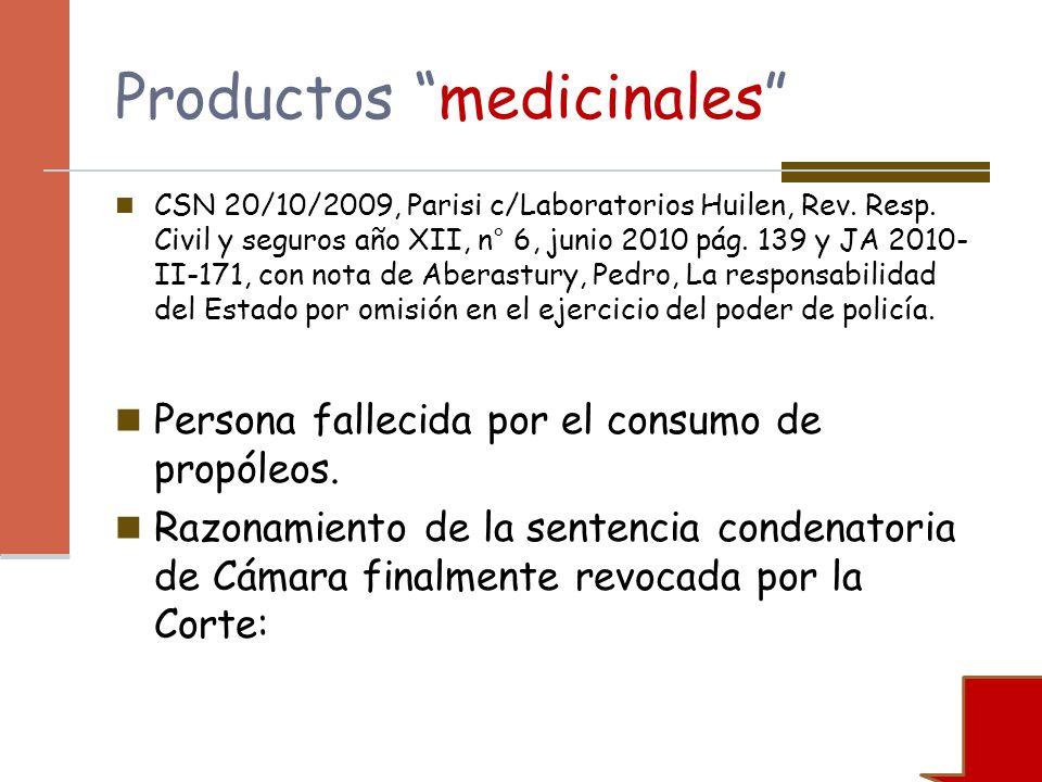 Productos medicinales CSN 20/10/2009, Parisi c/Laboratorios Huilen, Rev. Resp. Civil y seguros año XII, n° 6, junio 2010 pág. 139 y JA 2010- II-171, c