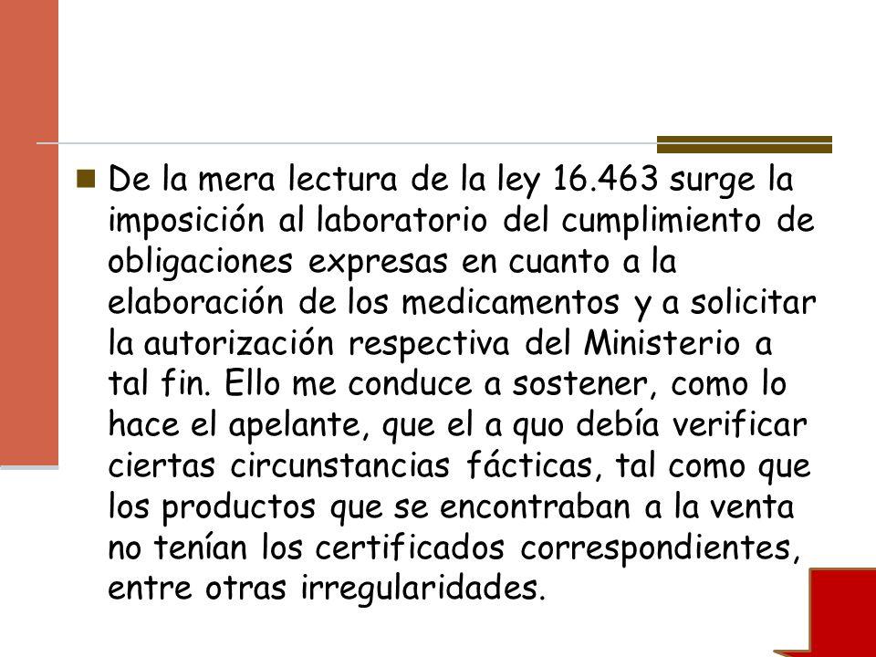 De la mera lectura de la ley 16.463 surge la imposición al laboratorio del cumplimiento de obligaciones expresas en cuanto a la elaboración de los med