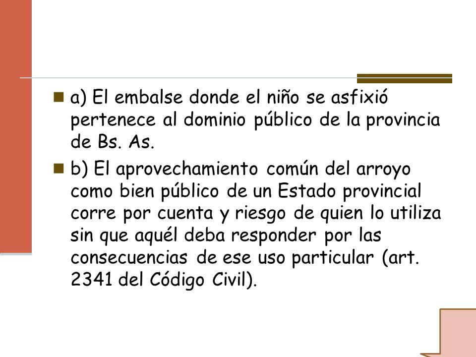 a) El embalse donde el niño se asfixió pertenece al dominio público de la provincia de Bs. As. b) El aprovechamiento común del arroyo como bien públic