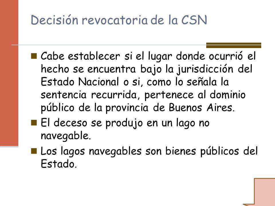Decisión revocatoria de la CSN Cabe establecer si el lugar donde ocurrió el hecho se encuentra bajo la jurisdicción del Estado Nacional o si, como lo
