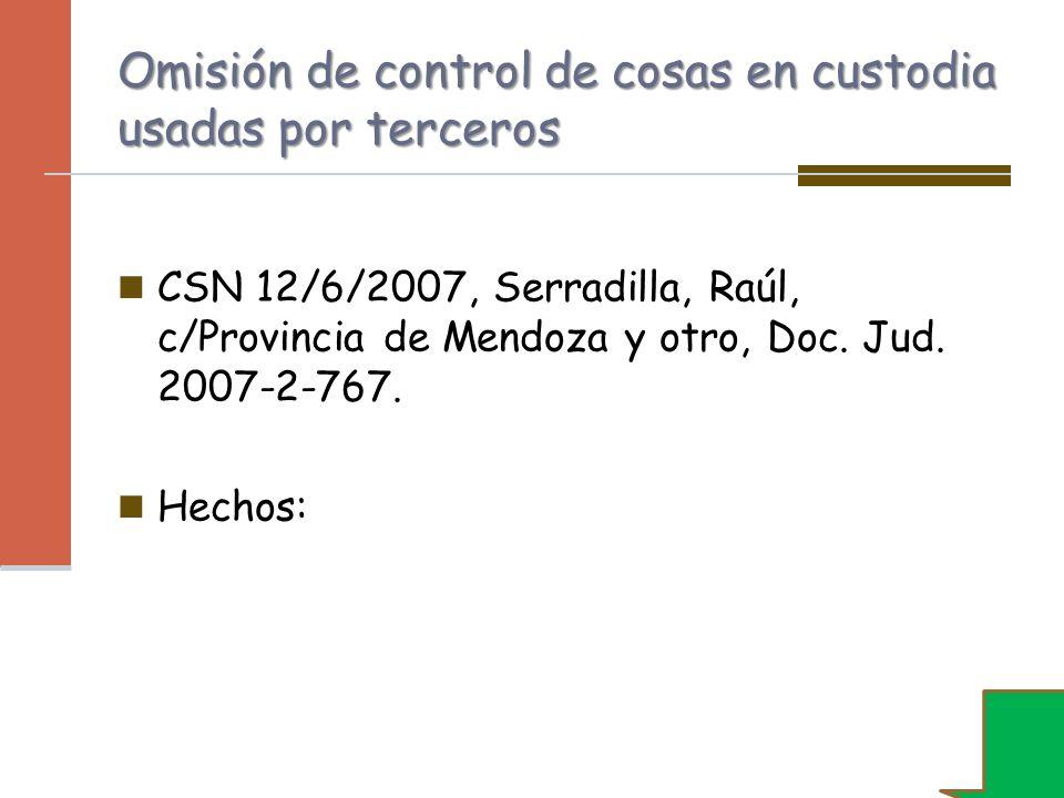 Omisión de control de cosas en custodia usadas por terceros CSN 12/6/2007, Serradilla, Raúl, c/Provincia de Mendoza y otro, Doc. Jud. 2007-2-767. Hech