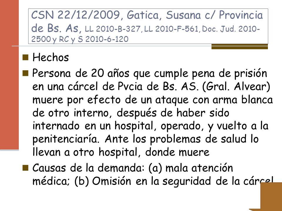 CSN 22/12/2009, Gatica, Susana c/ Provincia de Bs. As, LL 2010-B-327, LL 2010-F-561, Doc. Jud. 2010- 2500 y RC y S 2010-6-120 Hechos Persona de 20 año