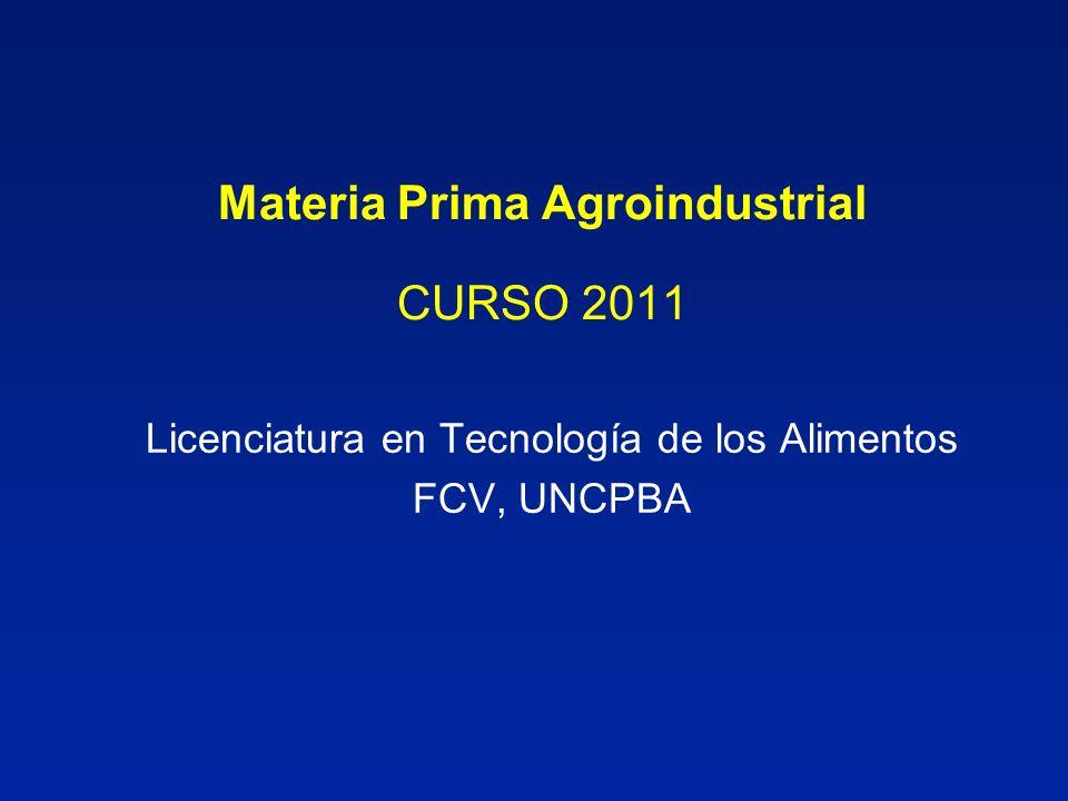 Materia Prima Agroindustrial CURSO 2011 Licenciatura en Tecnología de los Alimentos FCV, UNCPBA