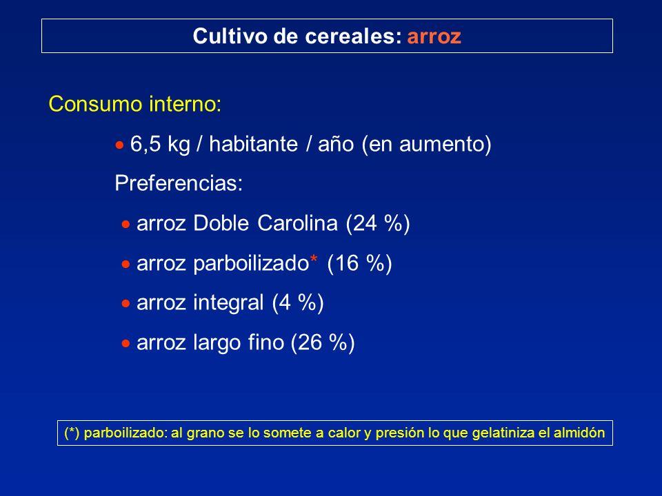 Cultivo de cereales: arroz Consumo interno: 6,5 kg / habitante / año (en aumento) Preferencias: arroz Doble Carolina (24 %) arroz parboilizado* (16 %)