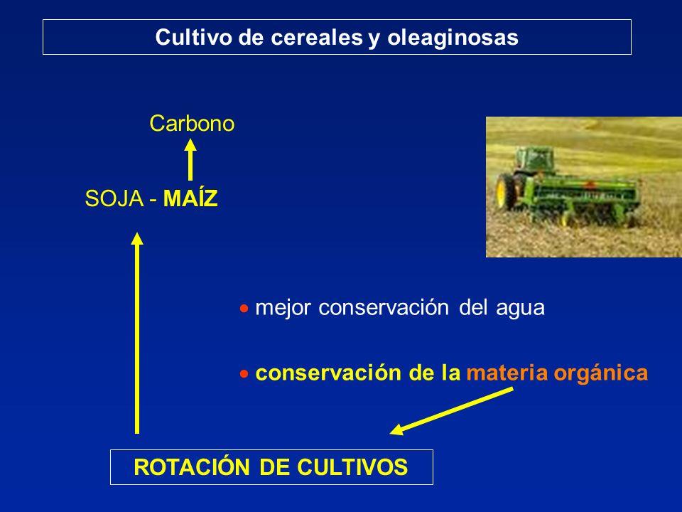 Cultivo de cereales y oleaginosas mejor conservación del agua conservación de la materia orgánica ROTACIÓN DE CULTIVOS SOJA - MAÍZ Carbono
