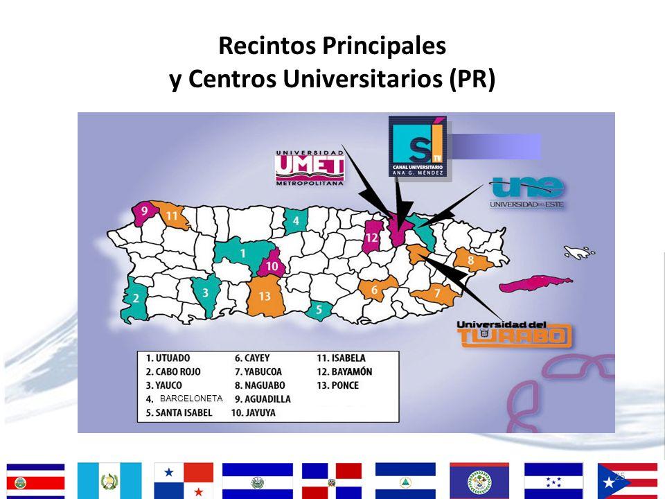 25 Recintos Principales y Centros Universitarios (PR) BARCELONETA