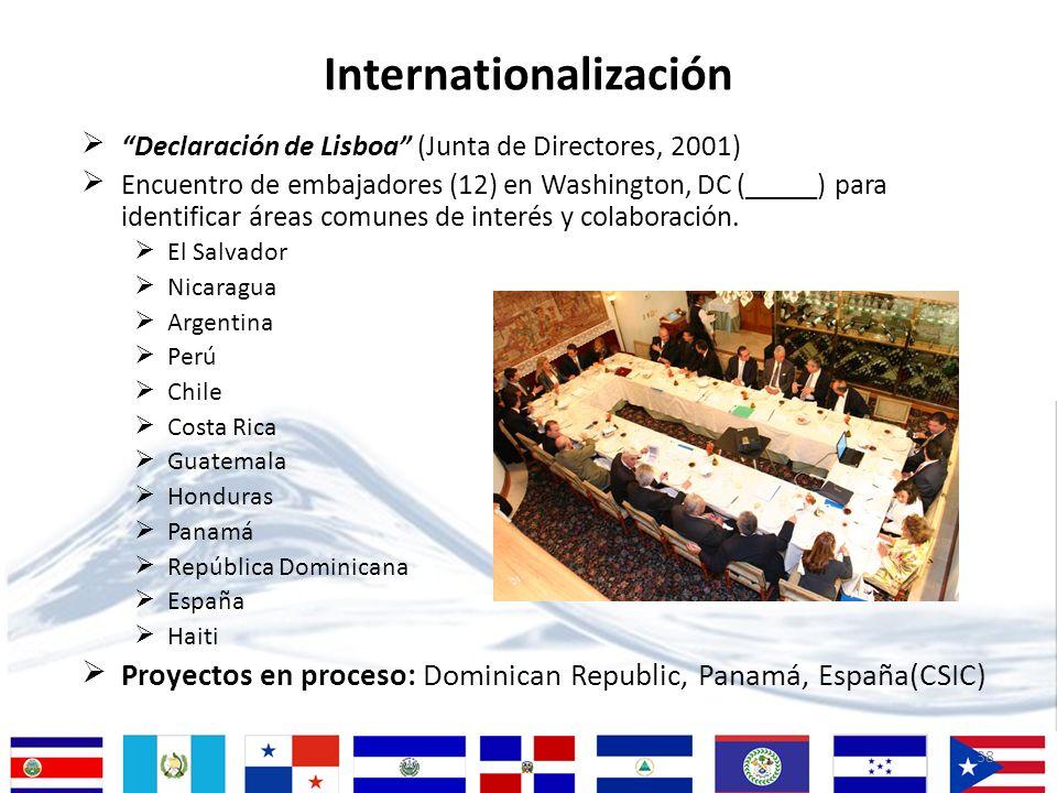 38 Declaración de Lisboa (Junta de Directores, 2001) Encuentro de embajadores (12) en Washington, DC (_____) para identificar áreas comunes de interés