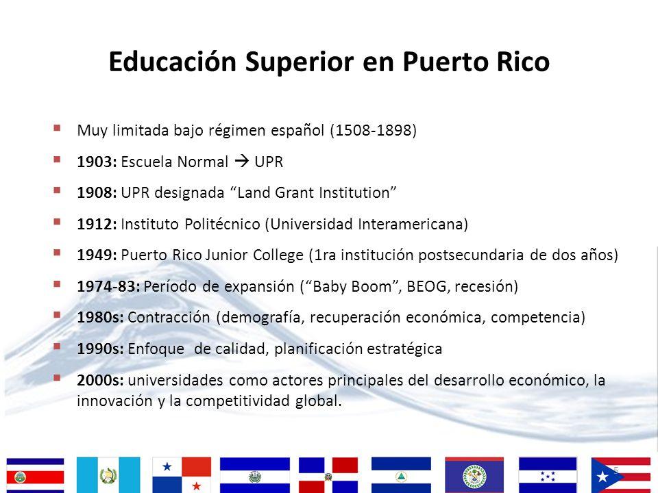 5 Educación Superior en Puerto Rico Muy limitada bajo régimen español (1508-1898) 1903: Escuela Normal UPR 1908: UPR designada Land Grant Institution
