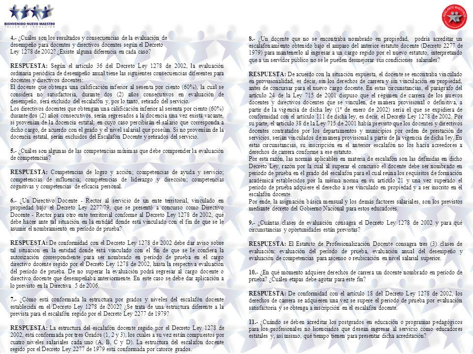 4.- ¿Cuáles son los resultados y consecuencias de la evaluación de desempeño para docentes y directivos docentes según el Decreto Ley 1278 de 2002? ¿E