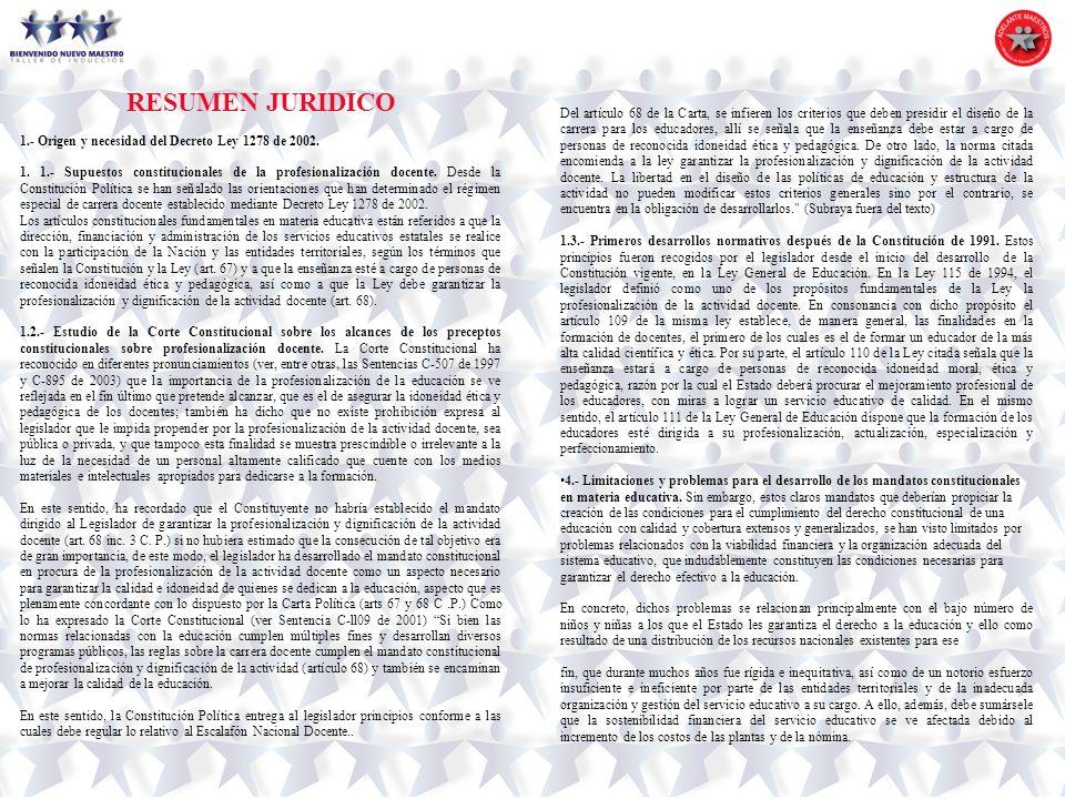 RESUMEN JURIDICO 1.- Origen y necesidad del Decreto Ley 1278 de 2002. 1. 1.- Supuestos constitucionales de la profesionalización docente. Desde la Con