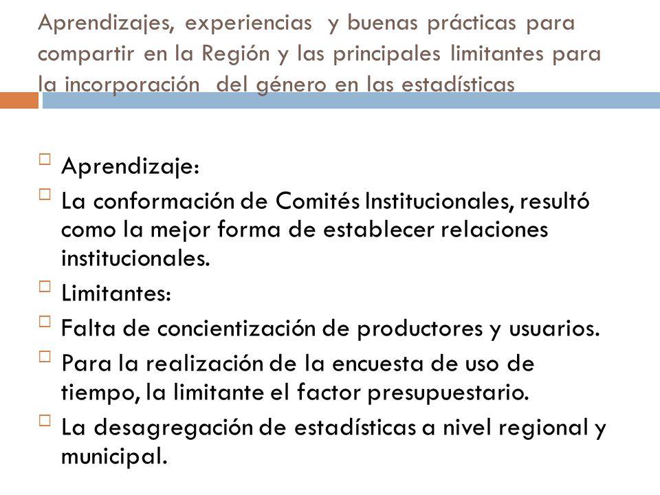La institucionalización de la perspectiva de género en la producción estadística del país Sistema de Información Est.
