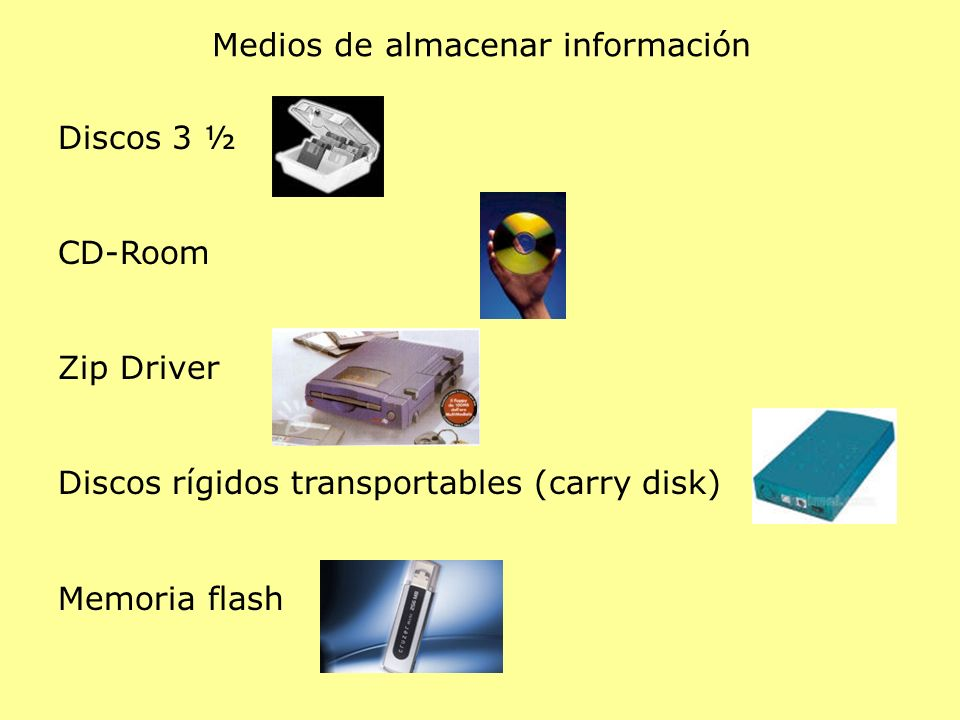 Medios de almacenar información Discos 3 ½ CD-Room Zip Driver Discos rígidos transportables (carry disk) Memoria flash