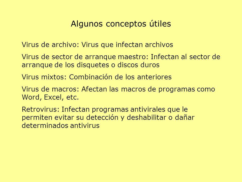 Virus de archivo: Virus que infectan archivos Virus de sector de arranque maestro: Infectan al sector de arranque de los disquetes o discos duros Virus mixtos: Combinación de los anteriores Virus de macros: Afectan las macros de programas como Word, Excel, etc.
