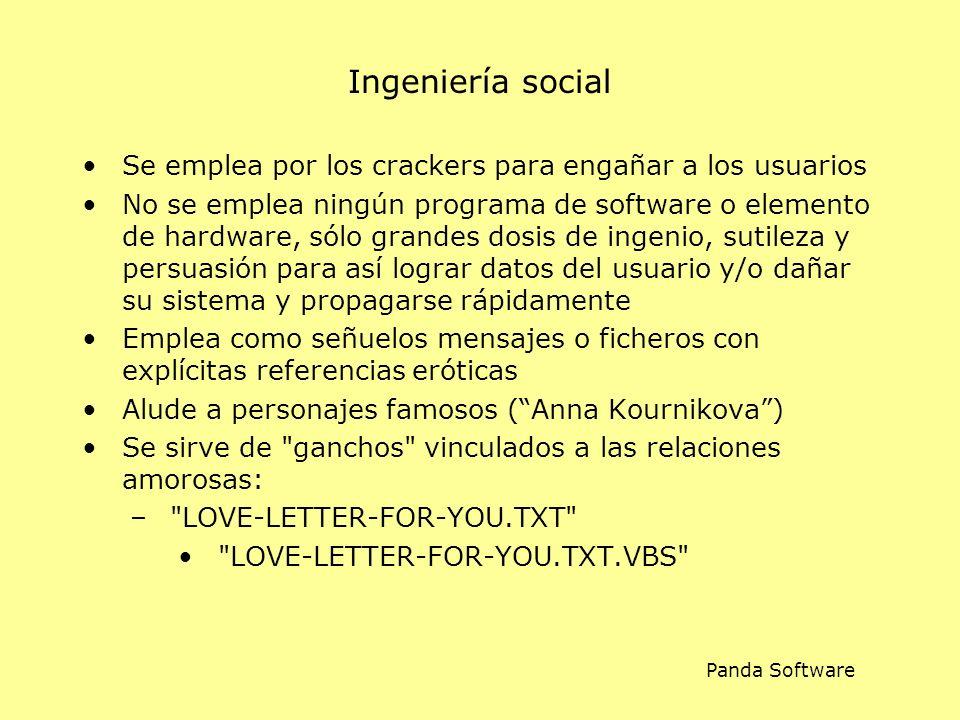 Ingeniería social Se emplea por los crackers para engañar a los usuarios No se emplea ningún programa de software o elemento de hardware, sólo grandes dosis de ingenio, sutileza y persuasión para así lograr datos del usuario y/o dañar su sistema y propagarse rápidamente Emplea como señuelos mensajes o ficheros con explícitas referencias eróticas Alude a personajes famosos (Anna Kournikova) Se sirve de ganchos vinculados a las relaciones amorosas: – LOVE-LETTER-FOR-YOU.TXT LOVE-LETTER-FOR-YOU.TXT.VBS Panda Software