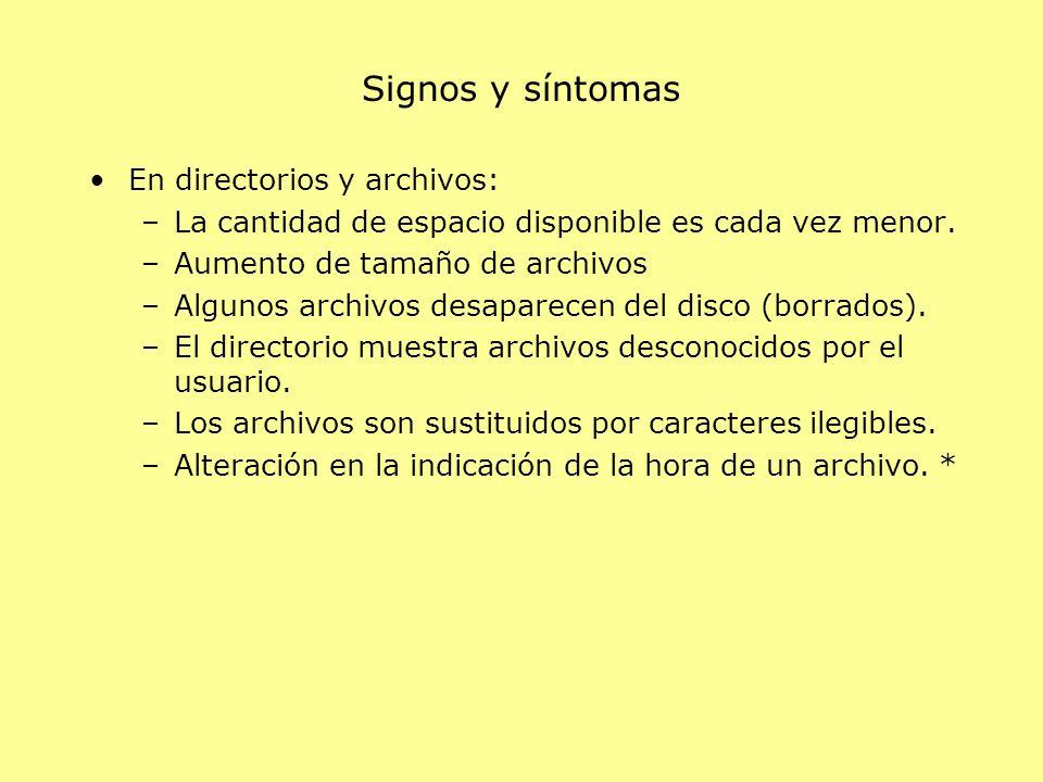 Signos y síntomas En directorios y archivos: –La cantidad de espacio disponible es cada vez menor. –Aumento de tamaño de archivos –Algunos archivos de