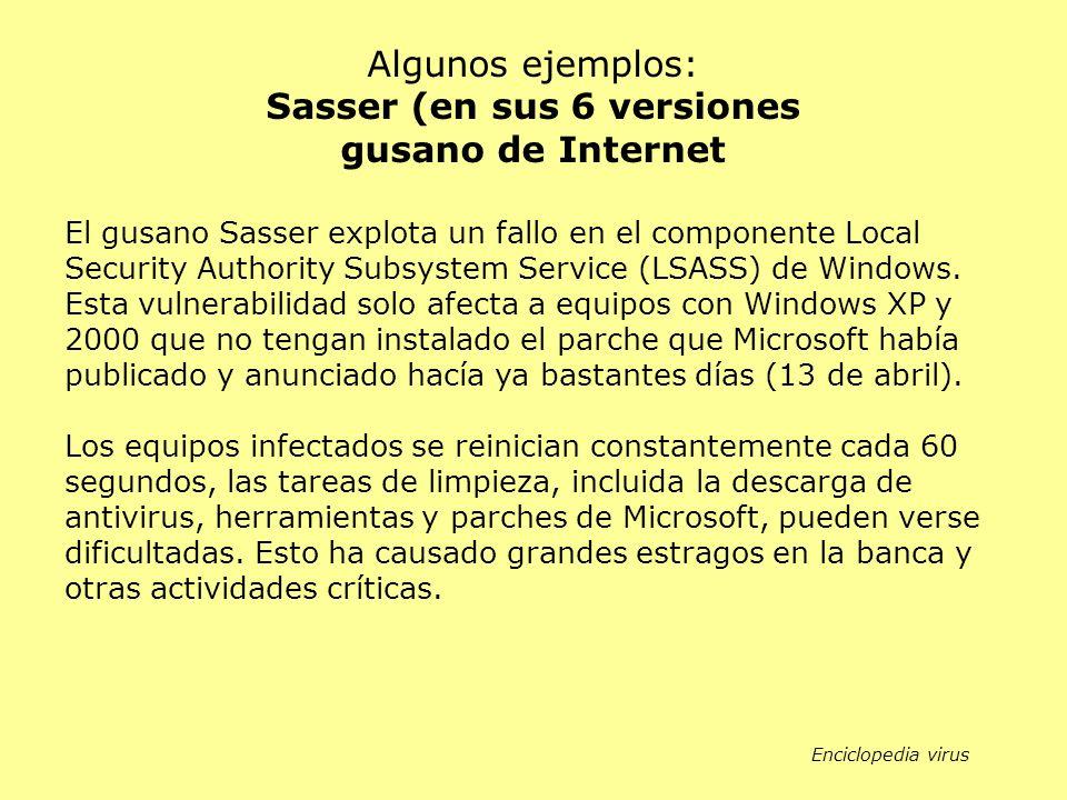El gusano Sasser explota un fallo en el componente Local Security Authority Subsystem Service (LSASS) de Windows. Esta vulnerabilidad solo afecta a eq