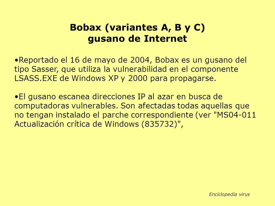 Reportado el 16 de mayo de 2004, Bobax es un gusano del tipo Sasser, que utiliza la vulnerabilidad en el componente LSASS.EXE de Windows XP y 2000 para propagarse.
