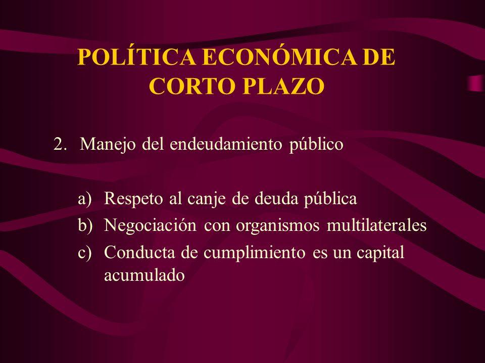 POLÍTICA ECONÓMICA DE CORTO PLAZO 2.Manejo del endeudamiento público a)Respeto al canje de deuda pública b)Negociación con organismos multilaterales c)Conducta de cumplimiento es un capital acumulado