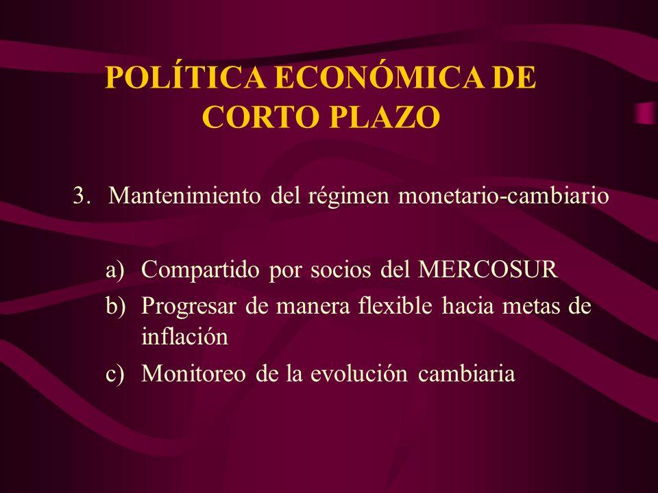 POLÍTICA ECONÓMICA DE CORTO PLAZO 3.Mantenimiento del régimen monetario-cambiario a)Compartido por socios del MERCOSUR b)Progresar de manera flexible hacia metas de inflación c)Monitoreo de la evolución cambiaria