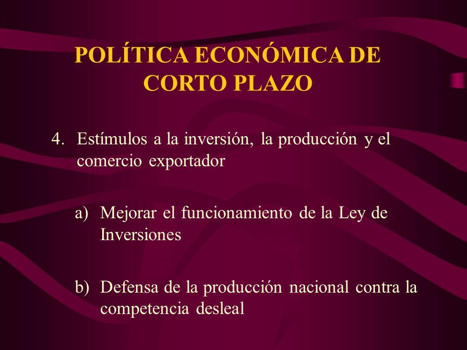 POLÍTICA ECONÓMICA DE CORTO PLAZO 4.Estímulos a la inversión, la producción y el comercio exportador a)Mejorar el funcionamiento de la Ley de Inversiones b)Defensa de la producción nacional contra la competencia desleal