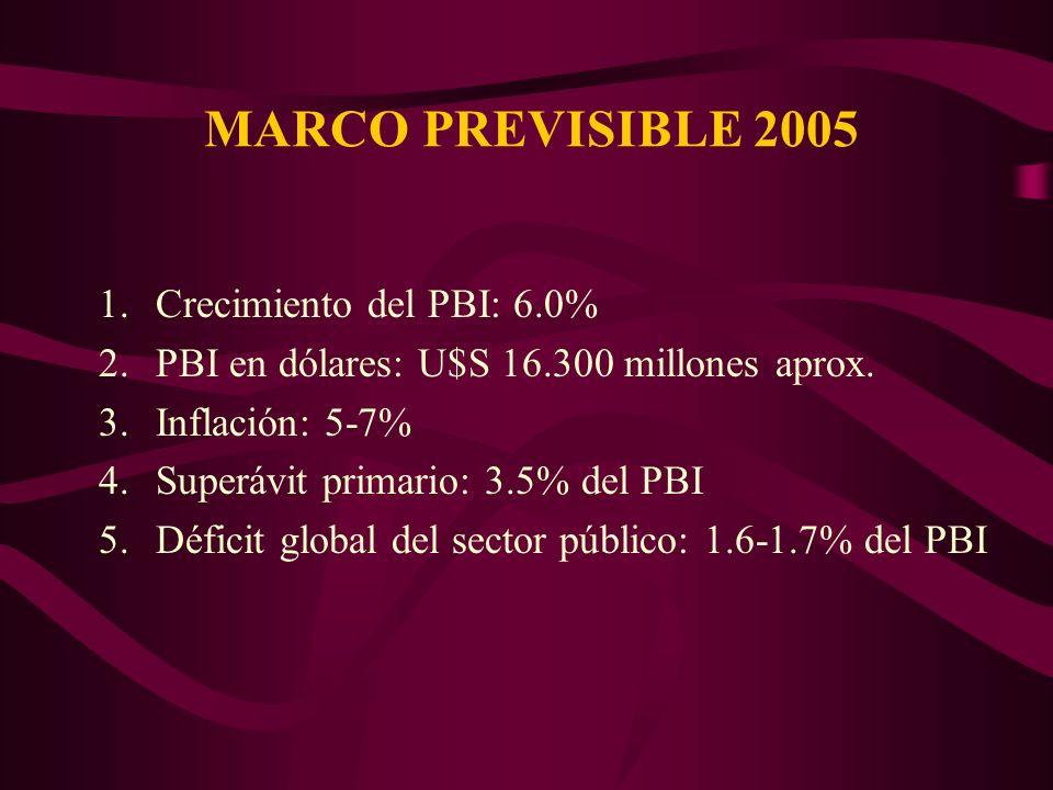 MARCO PREVISIBLE 2005 1.Crecimiento del PBI: 6.0% 2.PBI en dólares: U$S 16.300 millones aprox.