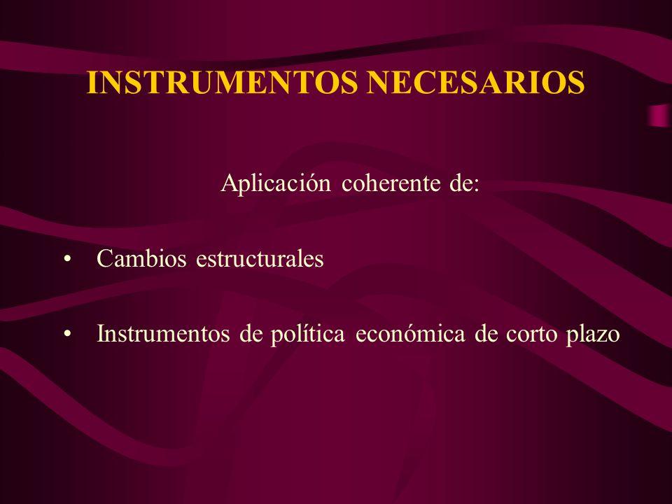 INSTRUMENTOS NECESARIOS Aplicación coherente de: Cambios estructurales Instrumentos de política económica de corto plazo