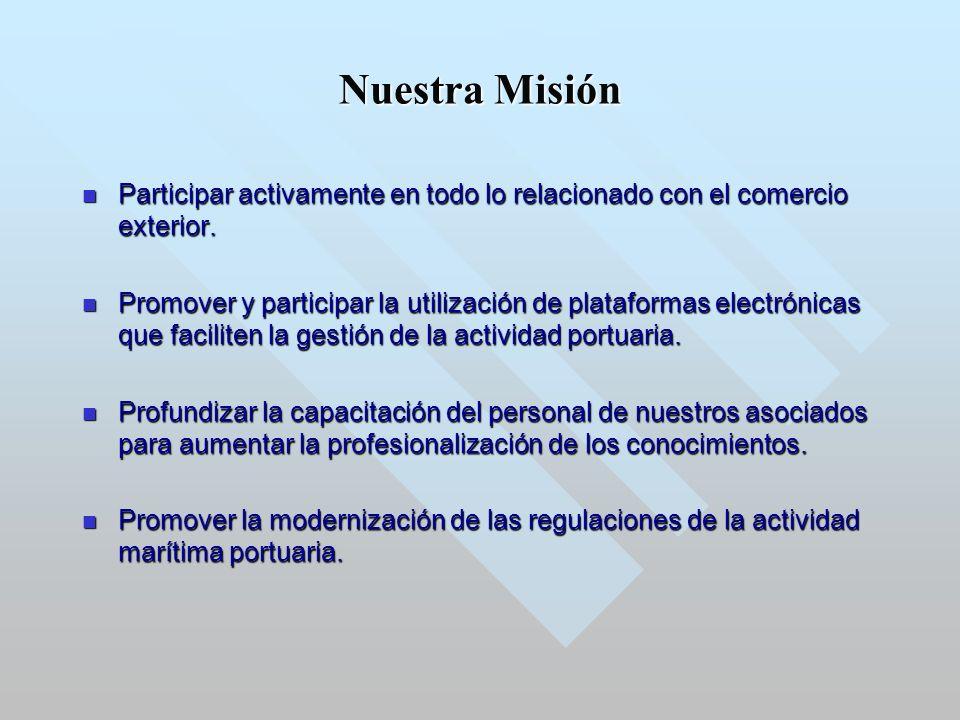 Nuestra Misión Participar activamente en todo lo relacionado con el comercio exterior.