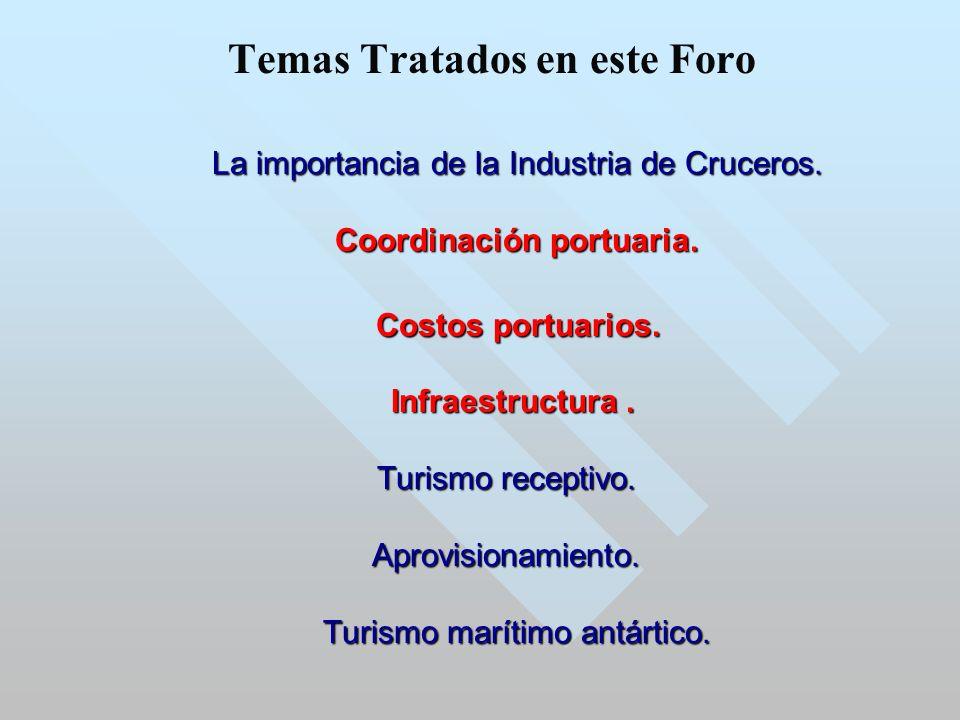 Temas Tratados en este Foro La importancia de la Industria de Cruceros.