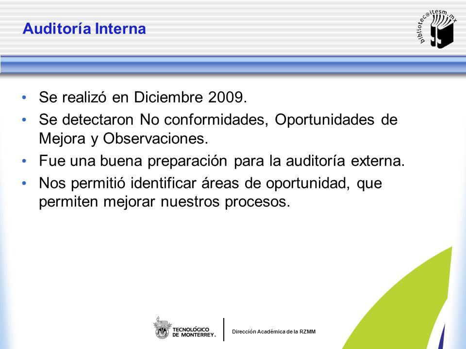 Dirección Académica de la RZMM Auditoría Interna Se realizó en Diciembre 2009.