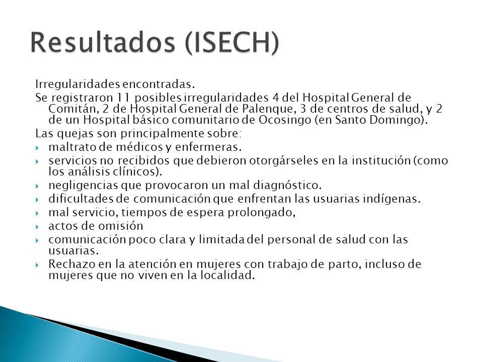 Irregularidades encontradas. Se registraron 11 posibles irregularidades 4 del Hospital General de Comitán, 2 de Hospital General de Palenque, 3 de cen